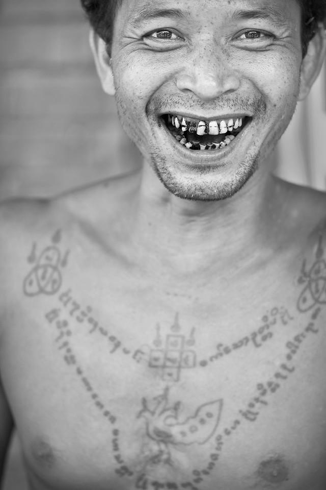 Man with chest tattoo, San Pya Zei (Fish Market), Yangon