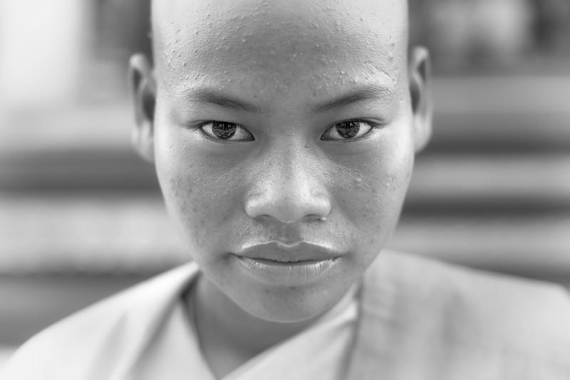 Novice nun, Shwedagon Paya, Yangon