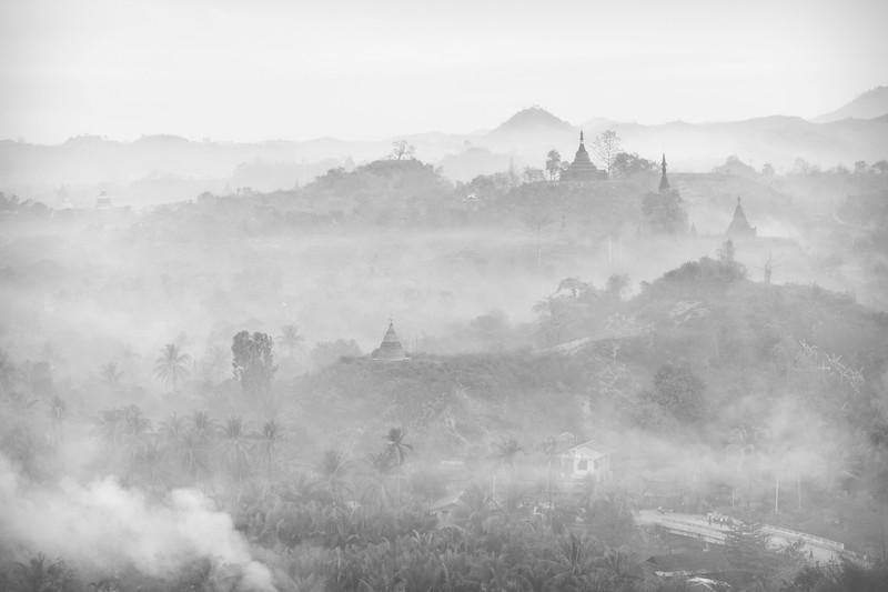 Dawn view from Shwetaung Paya, Mrauk U