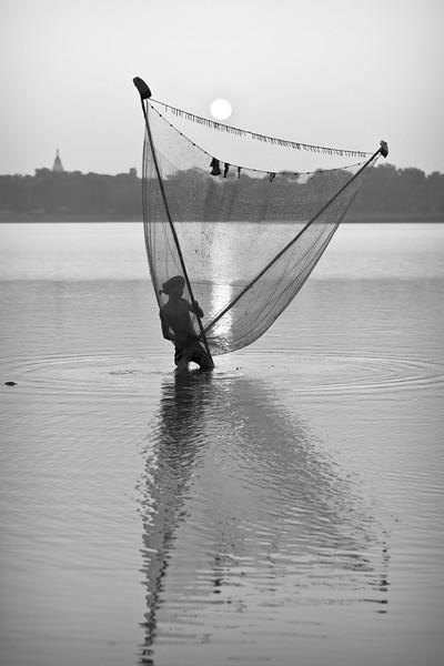 Fisherman at dawn near U Bein's Bridge, Amarapura