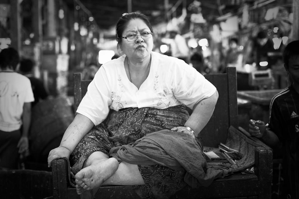 Broker, San Pya Zei (fish market), Yangon