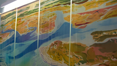 Abstract Mural of local waterways.