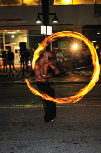 A firedancer named Cleric performs at the Cirque du Grove, Coconut Grove, Fl