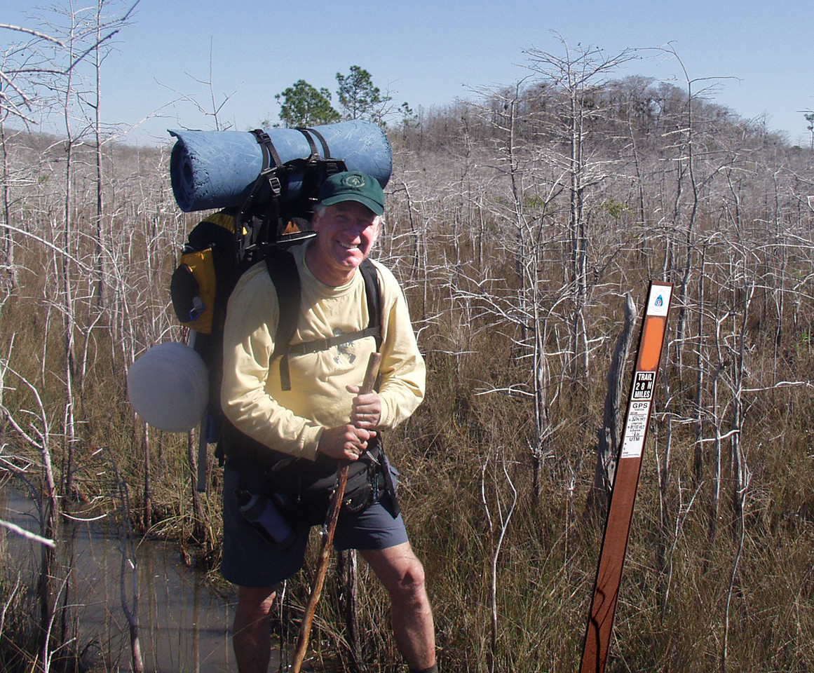 Naples freelance photographer Donn Brown, traveled with the group to doument the hike.  Big Cypress<br /> PHOTO CREDIT: Robert Kirby / Florida Trail Association