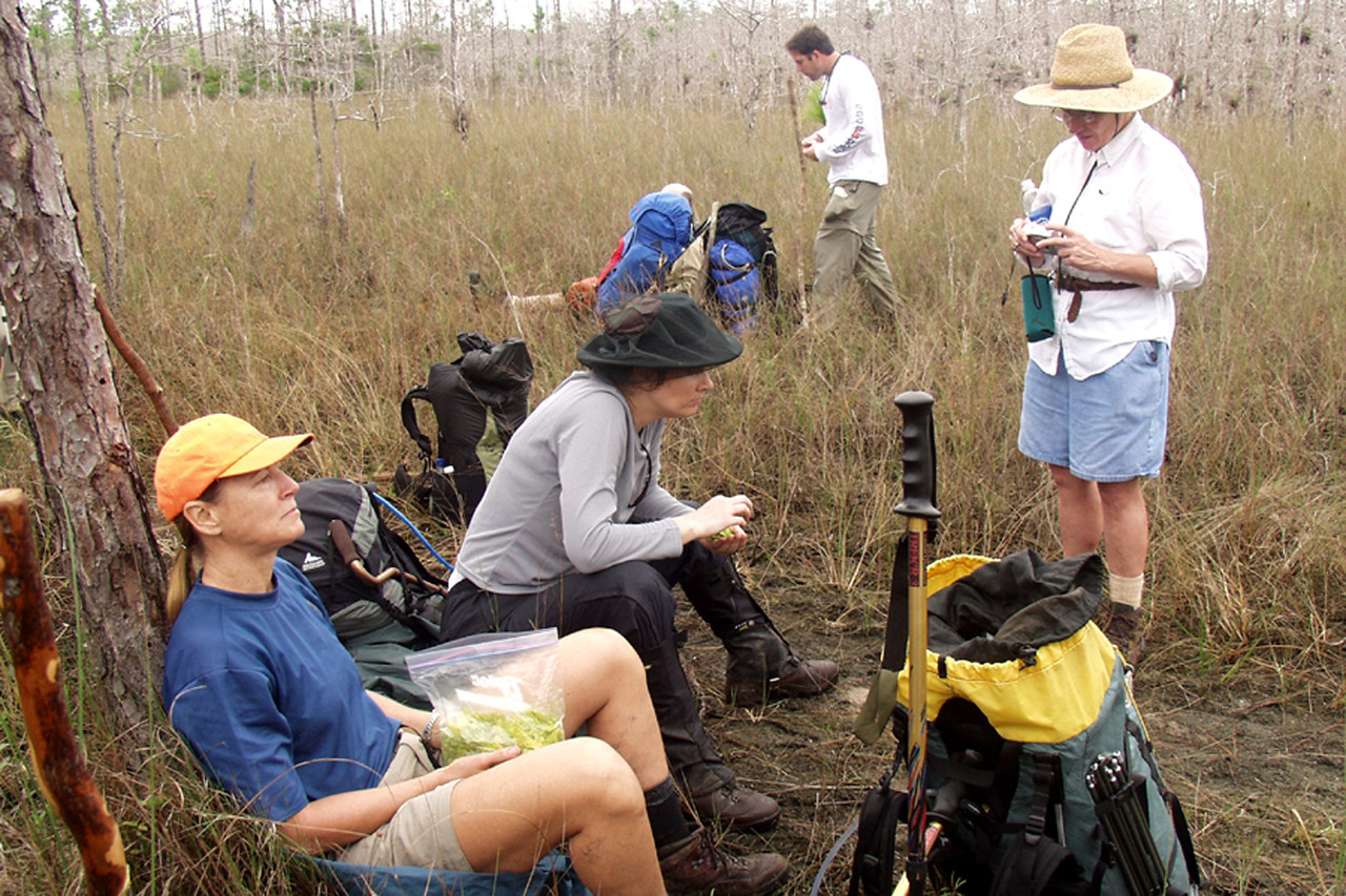 Participants of the Big Cypress hike relax at 7-mile camp.<br /> L to R, Deborah Dalrymple, Juliet Schwarz, Robert Kirby, and Mara Snyder.  Backpacking Big Cypress<br /> location: Big Cypress National Preserve<br /> PHOTO CREDIT: Donn Brown / Florida Trail Association