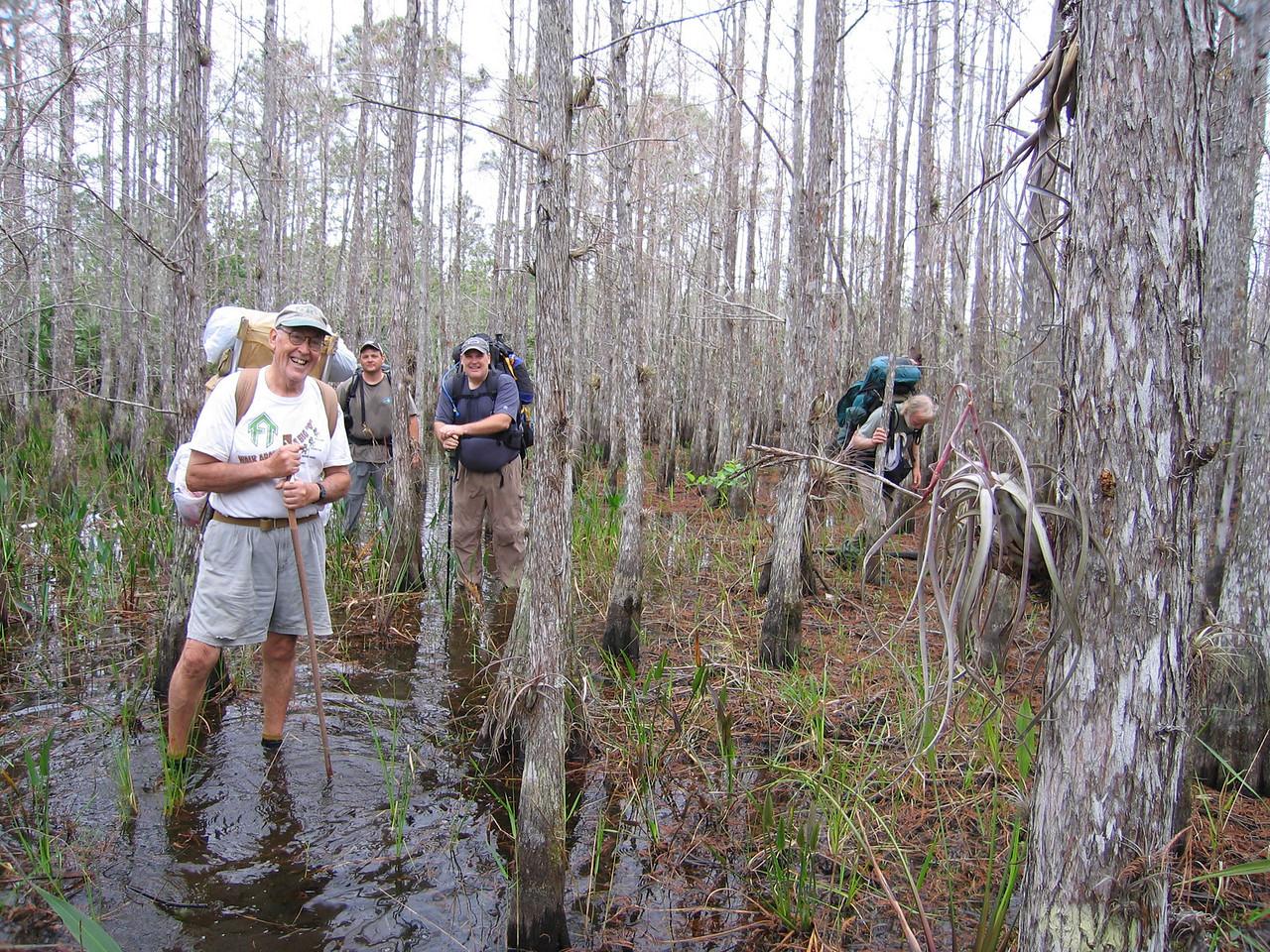 Eastbounders wading along<br /> photo credit: Raphael Clemente / Florida Trail Association