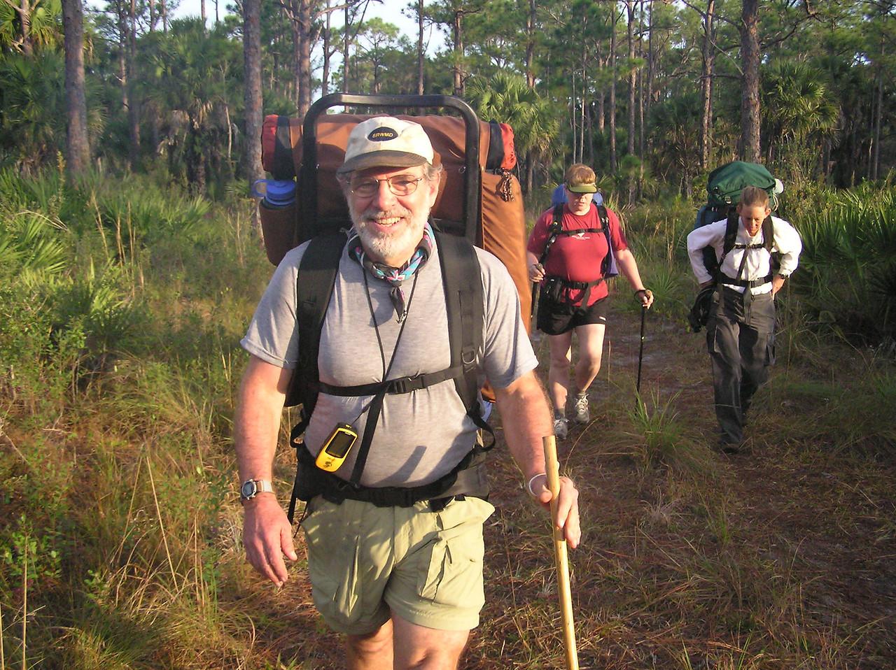 Fred Davis on the 2004 Ocean to Lake Hike<br /> photo credit: Jack Hailman / Florida Trail Association