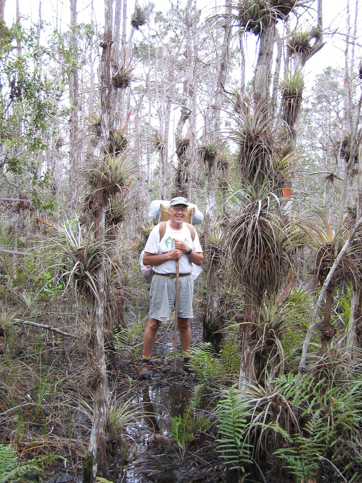 Robert Dowdy pauses in the Hole in the Wall, Corbett WMA, on the Ocean to Lake Hike<br /> photo credit: Raphael Sanchez / Florida Trail Association