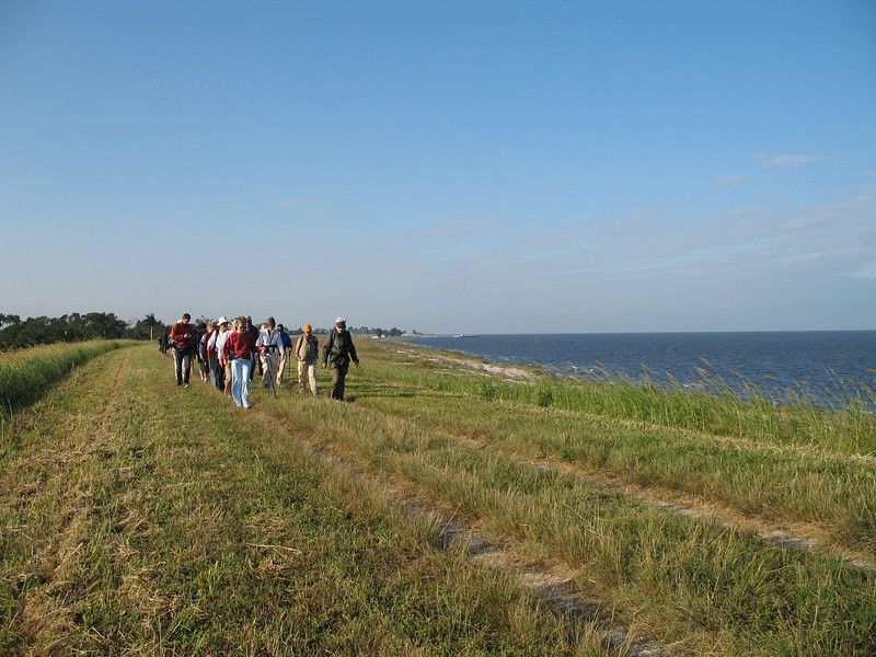 Hikers walking north from Pahokee along Lake Okeechobee<br /> PHOTO CREDIT: Sandra Friend / Florida Trail Association
