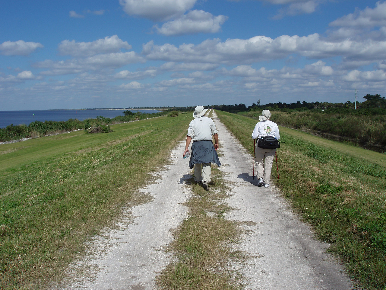 Hikers on the long stretch to Port Mayaca<br /> PHOTO CREDIT: Robert Coveney / Florida Trail Association