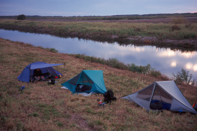 Camping along the L-1 Canal<br /> location: near Devil's Garden<br /> PHOTO CREDIT: Sandra Friend / Florida Trail Association