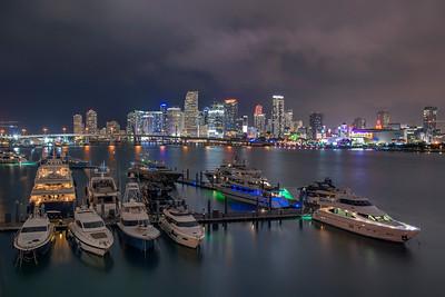 Miami Skyline and luxury yachts, Miami, Florida