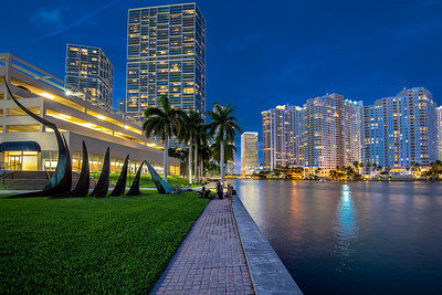 Brickell downtown at night, Miami, Florida