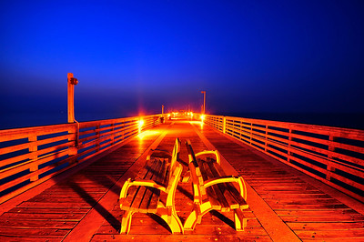Benches of Dania Beach Fishing Pier, Florida.