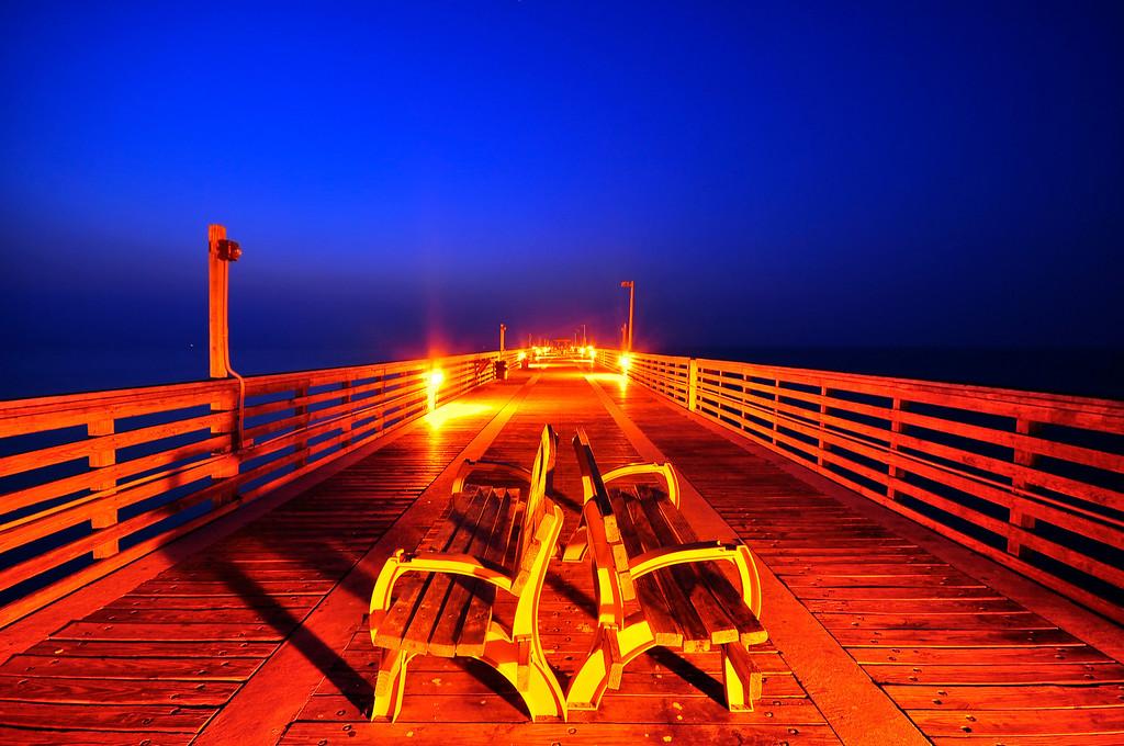 Benches of Dania Beach Fishing Pier, Florida.