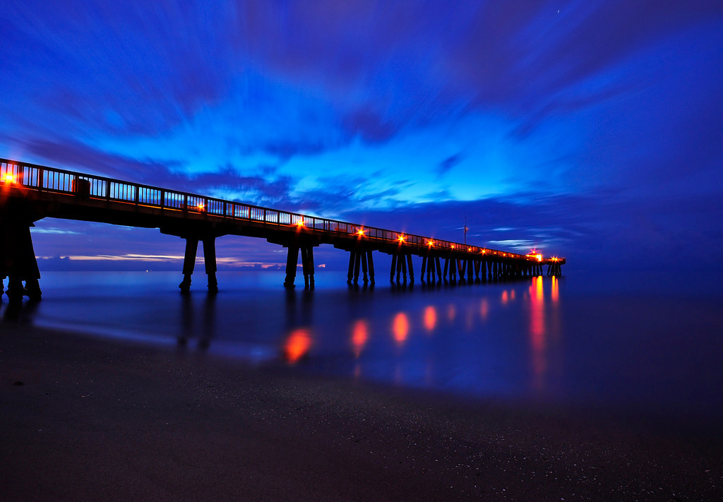Pompano Beach Pier at sunrise, Florida