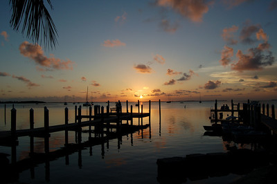 Sunset and docks, Pelican Hotel, Key Largo
