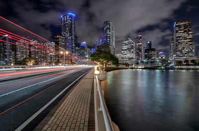Brickell Avenue Bridge at night, Miami, Florida