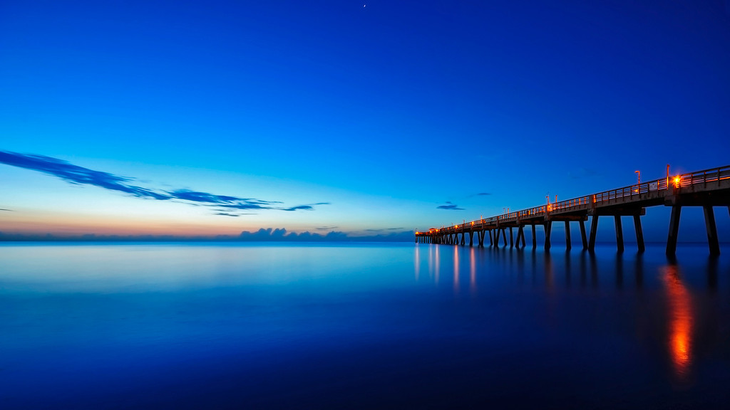 Dania Beach Fishing Pier and Blue Ocean.