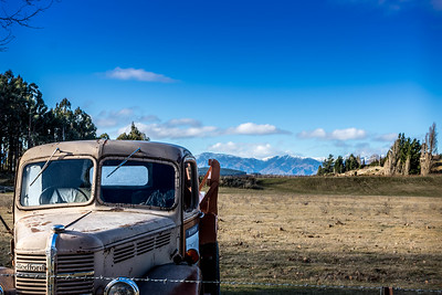 Rippon vineyard truck with mountains