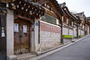 The unique architecture in the buildings in Bukchon Hanok Village, Seoul, South Korea, Asia.