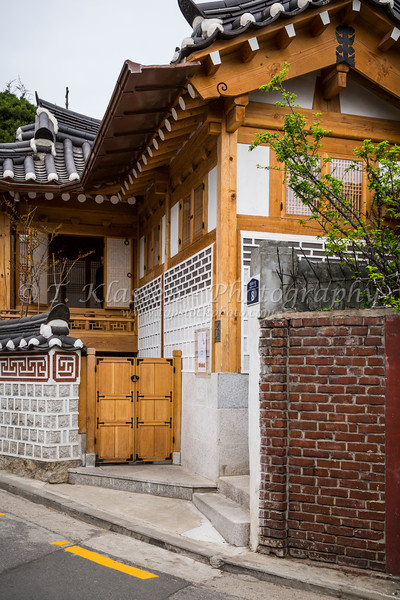 The unique architecture in the buildings in Bukchon Hanok Village, Seoul, South Korea, Asia.
