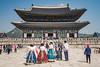 Korean ladies in traditioanal dress at the Gyeongbokgung Royal Palace in Seoul, South Korea, Asia.