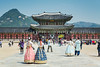 Korean ladies in traditioanal dress at the Gyeongbokgung Royal Palace in Seoul, South Korea, Asia.