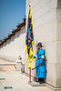 Royal Palace guards in traditional Korean dress at the Gyeongbokgung Royal Palace in Seoul, South Korea, Asia.