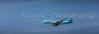 A Korean Air passenger plane ove the port of Jeju, Jeju Island, South Korea, Asia.