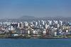 A city view from  the port of Jeju, Jeju Island, South Korea, Asia.