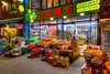 A fresh fruit market at night near the port of Incheon, South Korea, Asia.