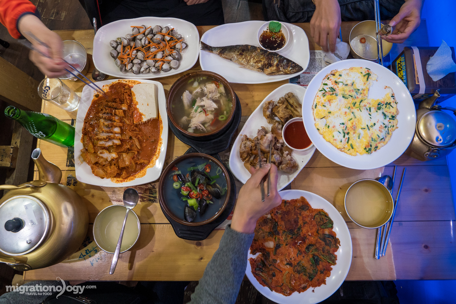 Korean makgeolli feast