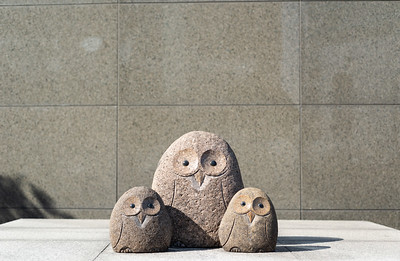 A stone street sculpture of a family of owls in Seoul, South Korea