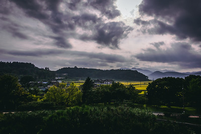 Cloudy Sunset over the Korean Country Side