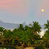 Moon setting over Moorea as seen from Tahiti, French Polynesia