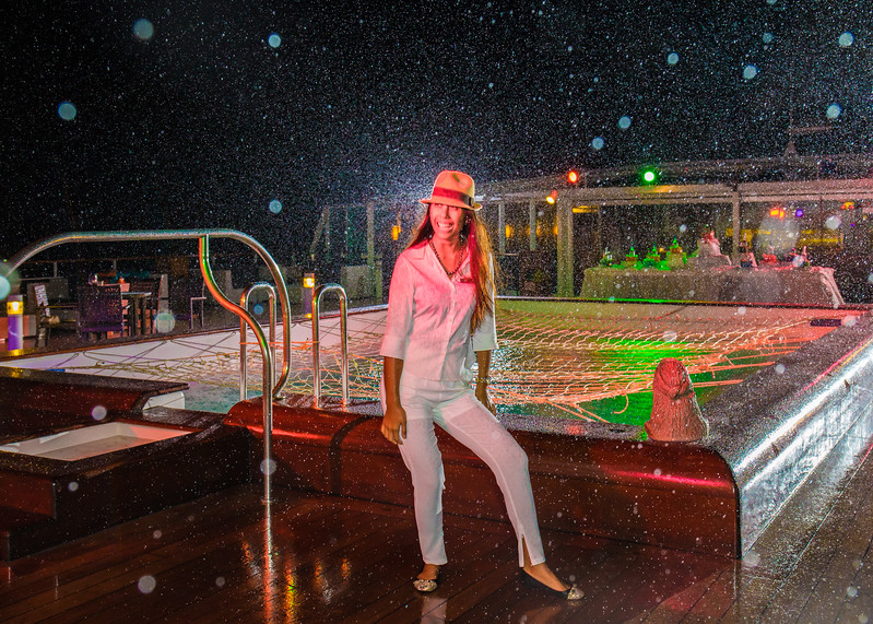 Hereiti doing her Micheal Jackson rendition on the pool deck of the Paul Gauguin.