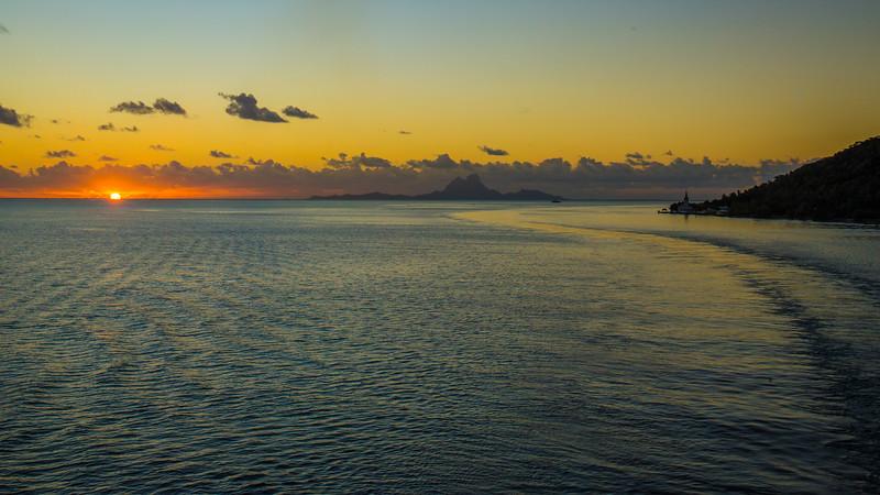 Leaving Motu Mahana inside the lagoon of Tahaa with Bora Bora 15 miles away