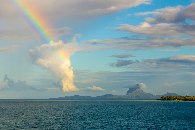 Taken as we entered the lagoon of Tahaa, that is Mt Otemanu on Bora bora 15 miles away.