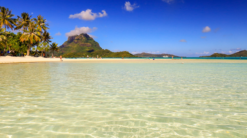 The Paul Gauguin's private beach on Bora Bora