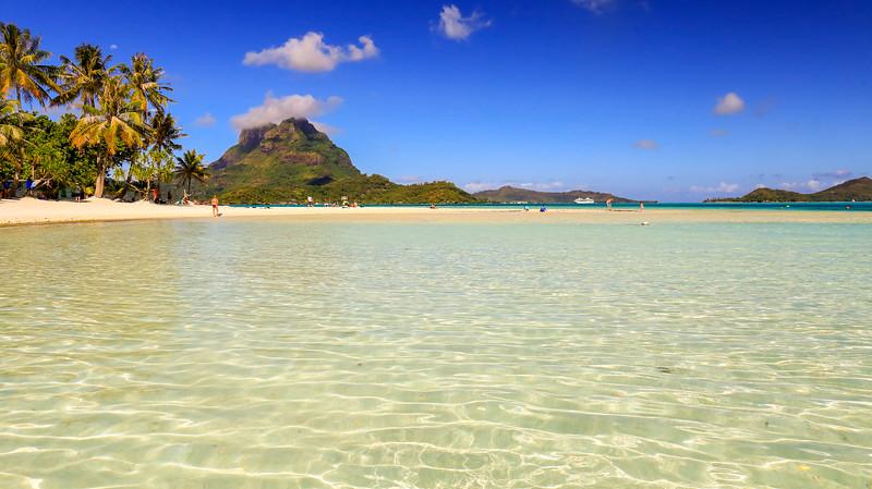 The Paul Gauguin's private beach on Bora Bora