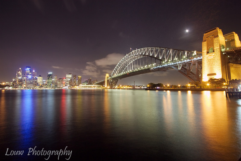 Sydney Harbour Bridge and Downtown at night