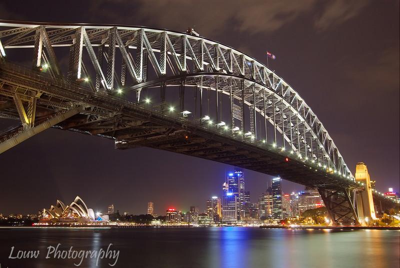 Sydney Harbour Bridge and Opera House at night