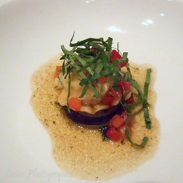 Ravioli of Queensland Spanner Crab with Tomato and Basil Vinaigrette