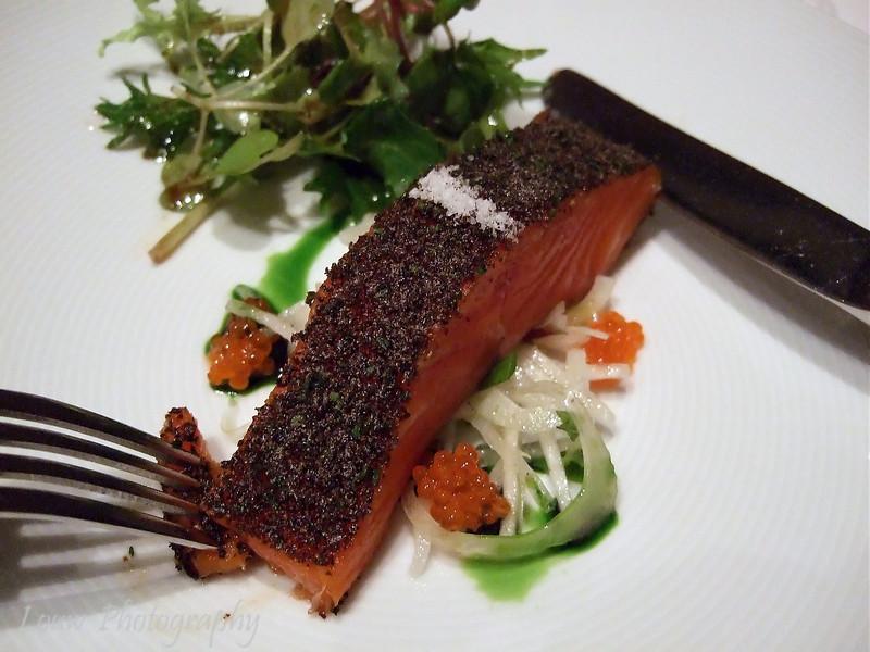 Tetsuya's Signature Dish -- Confit of Petuna Tasmanian Ocean Trout with Konbu, Daikon and Fennel.  Seasonal Green Salad.