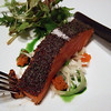 Tetsuya's Signature Dish -- Confit of Petuna Tasmanian Ocean Trout with Konbu, Daikon and Fennel.  Seasonal Green Salad.