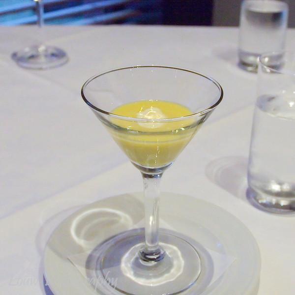 Cold Corn Soup with Saffron and Vanilla Ice Cream