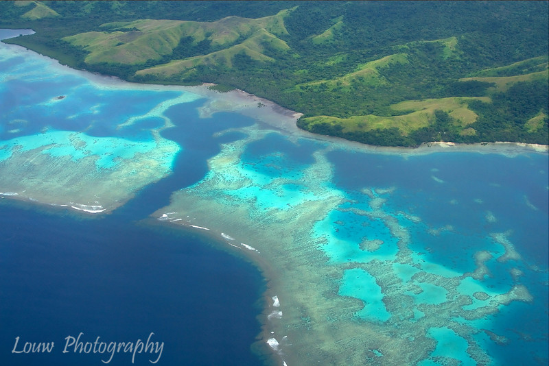 Aerial shot of Fiji