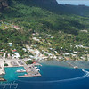 Aerial view of Vaitape, the main village of Bora Bora, French Polynesia