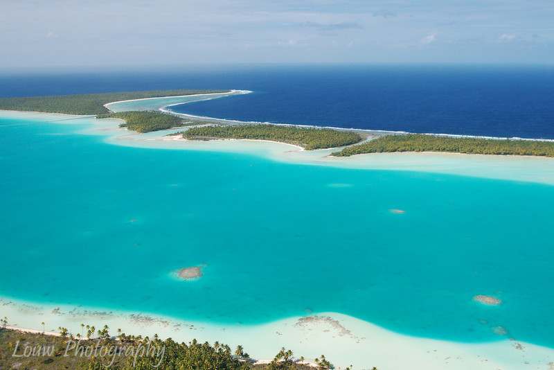 Aerial view of Tupai, a heart-shaped island near Bora Bora, French Polynesia